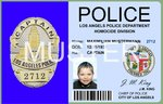 Film Ausweis / ID Card - Los Angeles Police LAPD - Captain of LAPD - Ihr Name - Blanko