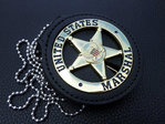 United States Marshal Gold+Leather Badge Holder for USMS US Marshal - with belt clip and chain