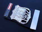 Police Officer 1902 New York Police NYPD+1x Insignia citation bars+leather holder+blanco name plate