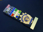 Captain New York Police NYPD+7x Insignia citation bars+leather holder+blanco name plate