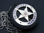 United States Marshal, Hallm. Göde + Leather Badge Holder for US Marshal - with belt clip and chain