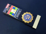 Lieutenant City of New York Police NYPD + 7x Insignia citation bars+leather holder+blanco name plate